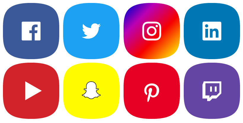 Eight social media icons showing an example of platforms we can brand.