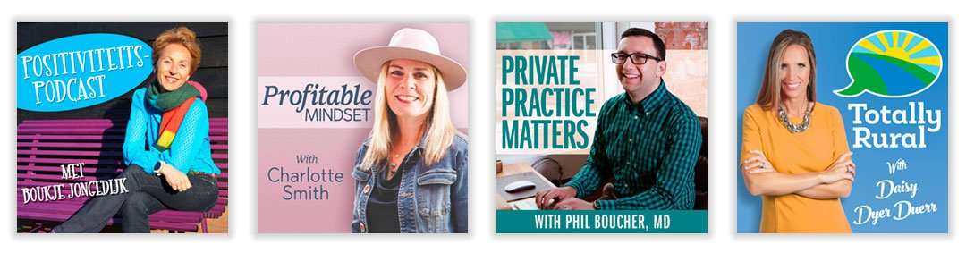 Examples of podcast cover artwork of people building a personal brand
